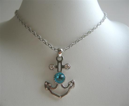 Anchor Pendant Necklace w/ Aquamarine Crystal Embedded Jewelry
