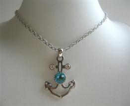 Anchor Pendant Necklace w/ Aquamarine Crystal Embedded Jewelry - $12.73