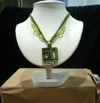 Exclusive Hip Hop Pendant 50 Cents in Green Necklace
