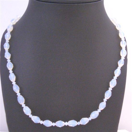 Moonlite Glass Beads Clear Chinese Crystals Inexpensive Long Necklace