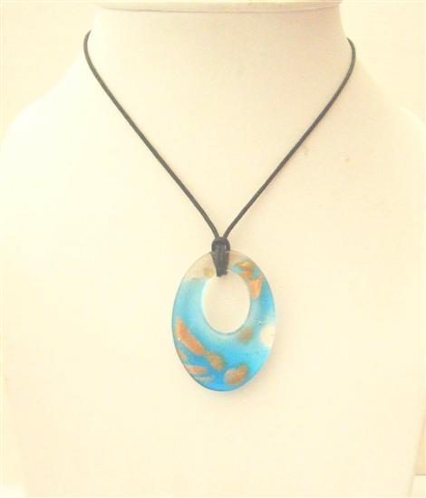 Venetian Glass Jewelry Murano Glass Pendant Painted Classy Necklace