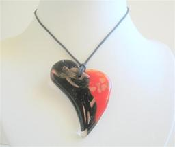 Black & Red Painted Glass Pendant Heart Painted Pendant Necklace - $14.68