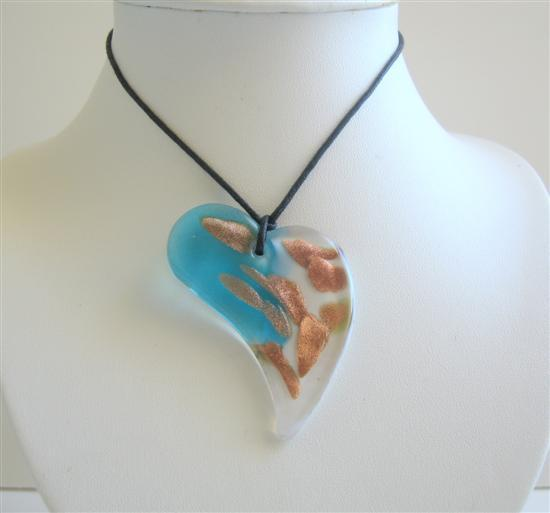 Summer Unique Design Heart Made w/ Glass Painted Pendant Necklace