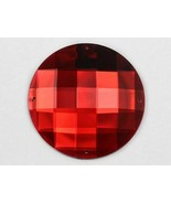 50mm Red Ruby H103 Large Sew On Round Jewels 4 Holes Square Cut  - 2 PCS - $5.79