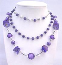 Purple Three Stranded Necklace Disco Balls Acrylic Glass Beads - $12.73