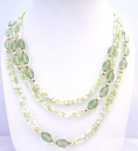 Green Fancy w/ Tiny White Beads Long Fancy Lucite Beads Long Necklace - $12.73