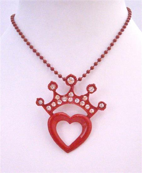Red Crown On Red Heart Beautiful Pendant Stylish Stunning Necklace