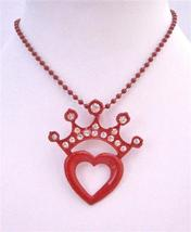 Red Crown On Red Heart Beautiful Pendant Stylish Stunning Necklace - $12.08