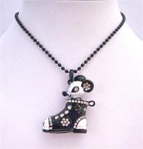 Black & White Boot Pendant Decorated w/ Rhinestones & Mouse Necklace - $12.73