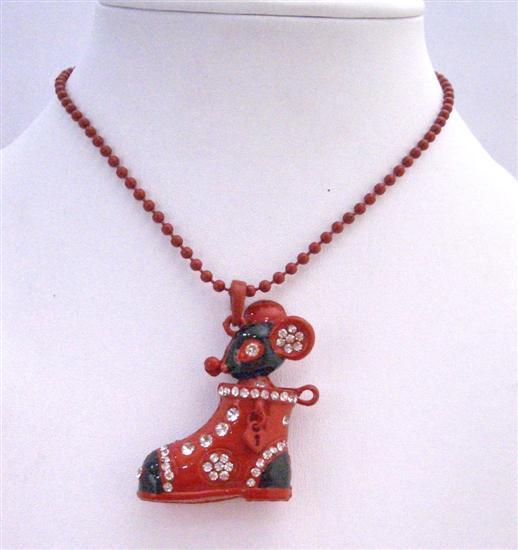 Boot Pendant Red Black Decorated Rhinestones & Mouse Pendant Necklace
