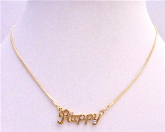 Primary image for Gold Happy Pendant Decorated w/ Cubic Zircon Gold Chain Necklace