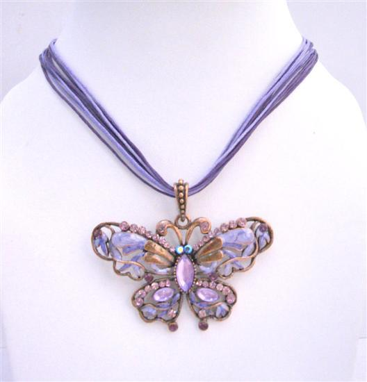 Primary image for Cool Soothing Purple Color Butterfly Necklace with Swarovski Crystal