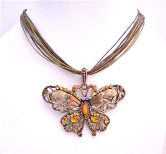 Smoked Topaz Butterfly Copper Antique Butterfly Pendant Necklace