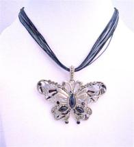 Black Butterfly Multi String Necklace Crystal Necklace Jewelry - $17.95