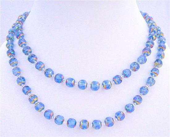 Top Drilled Multi Faceted Glass Beads Long Necklace Metallic Rainbow