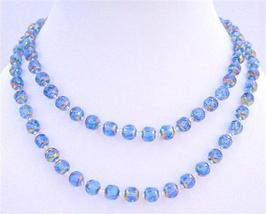Top Drilled Multi Faceted Glass Beads Long Necklace Metallic Rainbow - $22.48
