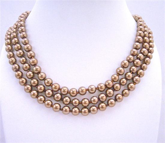 Primary image for Simulated Bronze Brown Pearls Long Jewelry 62 Inches Long Necklace