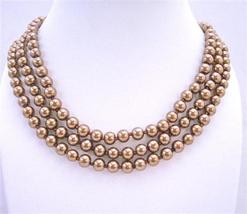 Simulated Bronze Brown Pearls Long Jewelry 62 Inches Long Necklace - $14.68