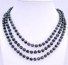 Onyx Beads Long Necklace 60 Inches w/ Silver Beads Necklace Jewelry - $17.93