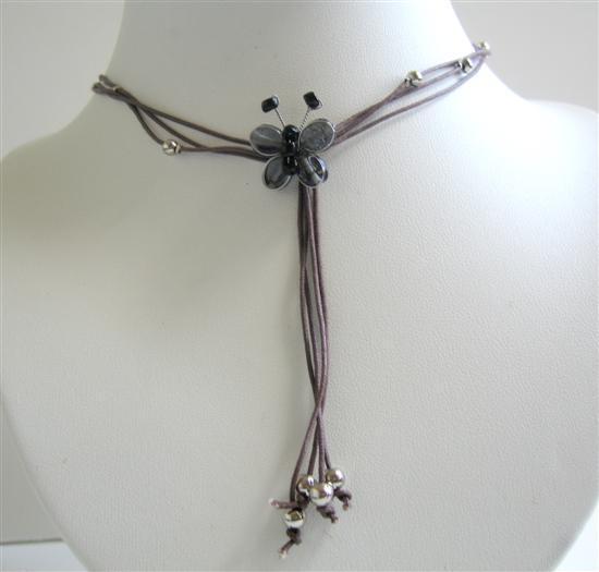 Necklace w/ Multi Strings & Tassel Drop Down Black Butterfly Necklace