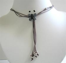 Necklace w/ Multi Strings & Tassel Drop Down Black Butterfly Necklace - $10.15