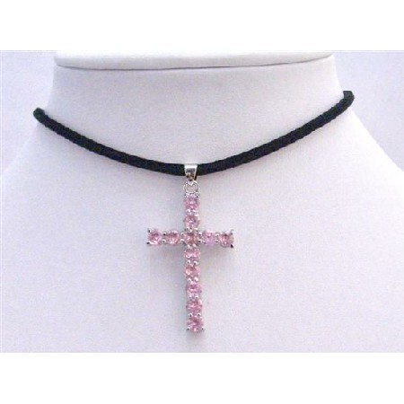 Long Cross Rose Pink Crystal Pendant w/ Leather Cord Necklace