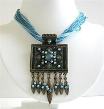 Blue Necklace Multi Strings Aquamarine Blue w/ Black Oxidized Pendant - $17.93