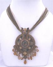 Brown Enamel Ethnic Multistranded Necklace Dangling Pendant Victorian - $17.93