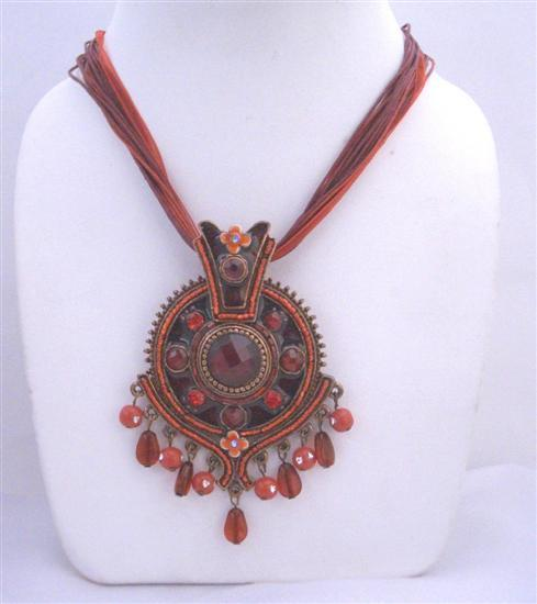 Seduction Red Beaded Necklace w/ Ethnic Enamel Pendant Victorian Style