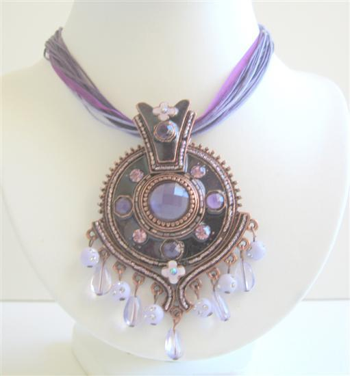 Primary image for Purple Enamel Ethnic Necklace w/ Beads Dangling Pendant Jewelry