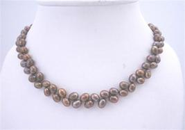 Brown Metallic Rice Shaped FreshWater Pearl Necklace Jewelry - $20.55