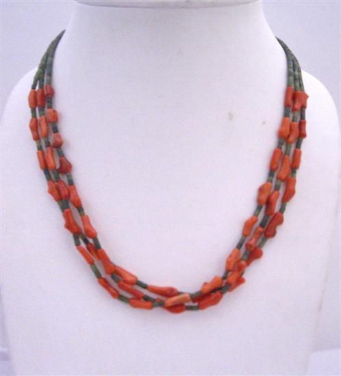 Primary image for Dark Green Jade Beads w/ Coral Fancy Beads 3 Stranded Coral Necklace