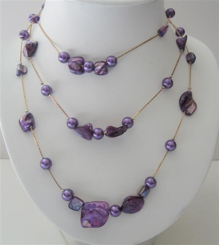 Primary image for Purple Shell & 3 Stranded Pearl Long Necklace Shell 26 Inches Necklace