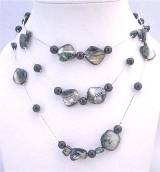 Affordable Shell Pearls Black Shell Black Pearls 3 Stranded