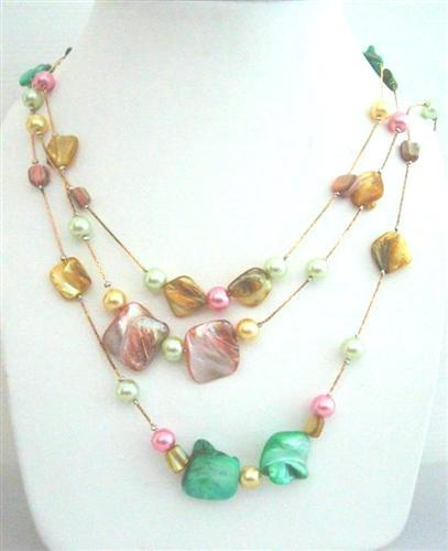 Multi Shell & Pearls 3 Strands Long Necklace Multi Shell & S