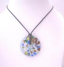 Hand Painted Murano Glass Pendant Round Pendant... - $13.38
