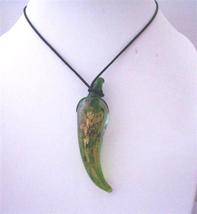 Murano Green Glass Green Chilli Pendant Necklace w/ Hand Painted Green - $13.38
