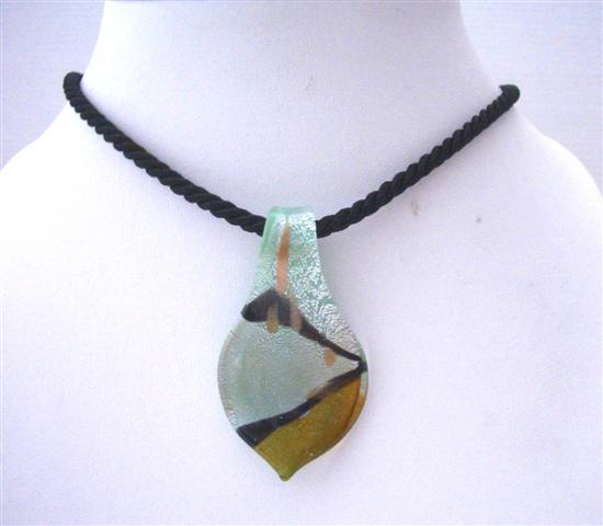 Murano Leaf Glass Pendant Hand Painted Glass Pendant w/ Chord Necklace