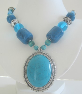 Simulated Turquoise Necklace Lucite Beads Stunning Necklace 24 Inches