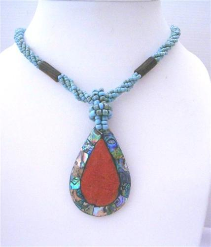 Primary image for Multi Strand Turquoise Beaded Necklace Abalone Teardrop Coral Stone