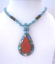 Multi Strand Turquoise Beaded Necklace Abalone Teardrop Coral Stone - $14.68