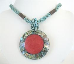 Turquoise Beaded Necklace Button Clasp w/ Abalone Round Pendant - $14.68