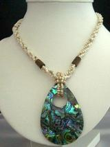 Handcrafted Beaded Necklace Cream Beads w/ Abalone Shell Pendant - $14.68