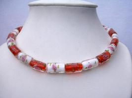 Vintage Cylindrical Painted Glass Bead Necklaces - $22.48