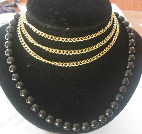 Primary image for Rich Necklace w/ 3 strings gold chain attach to Black Boho bead