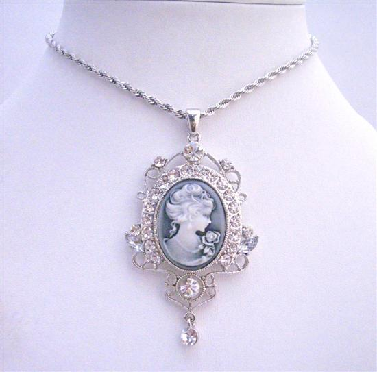 Lady Cameo Pendant Silver Casting Pendant w/ Cubic Zircon Embedded