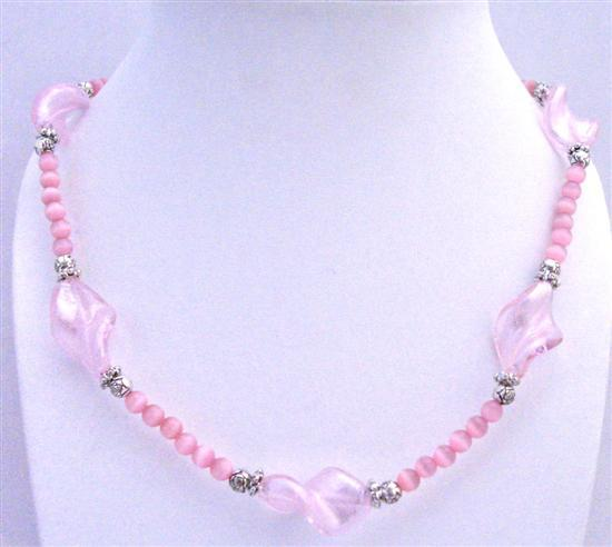 Primary image for Pink Cat Eye Long Necklace Pink Twisted Murano glass Beads & Spacers
