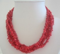 Five Stranded Coral Beaded Necklace w/ Silver Clasp - $26.38