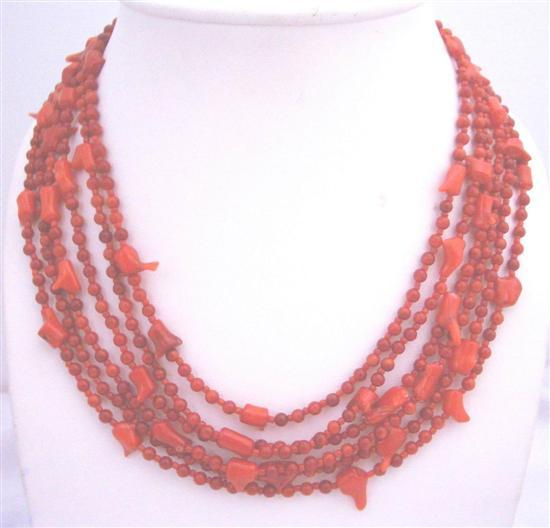Six Stranded Red Coral Beaded Necklace w/ Silver Clasp