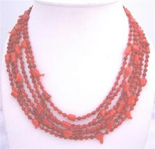 Six Stranded Red Coral Beaded Necklace w/ Silver Clasp - $39.38